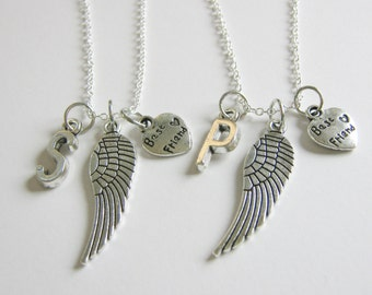 2 Best Friends Angel Wings Initial Necklaces BFF