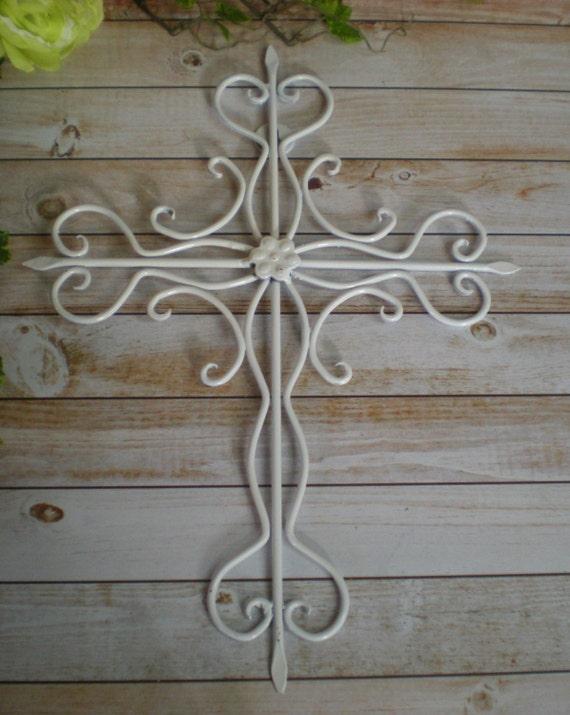 Religious Christmas Wall Decor : White metal cross wall art religious by