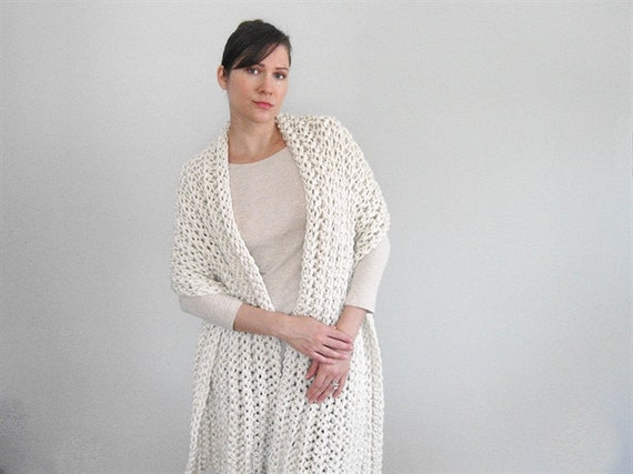 Cream Crochet Shawl | Wraps Shawls | Crochet Wrap | Chunky Wrap Sweater | Many Colors Available