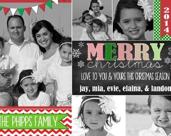 Photo Christmas Card | Chevron Chalkboard | Photo Holiday Card | Digital Christmas Card {L13}