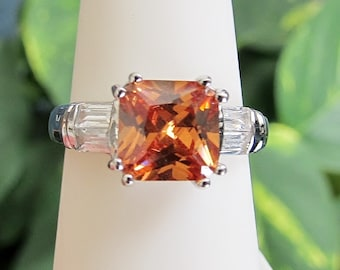 Sterling Silver CZ Crystal Ring Orange Size 7.25