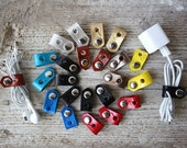 Travel Cord Organizers, Great Stocking Stuffers - Leather iPhone Lightning Charger Cord Keeper Holder Organizer - Wrap It and Snap It