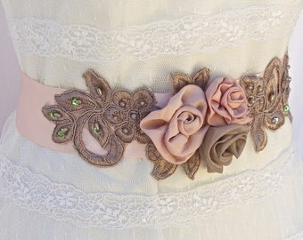 SALE Limited Time, 25% Off, Bridal Sash, Wedding Sash in Blush Pink And Tan WIth Lace and Pearls, Bridal Belt , Flower Sash