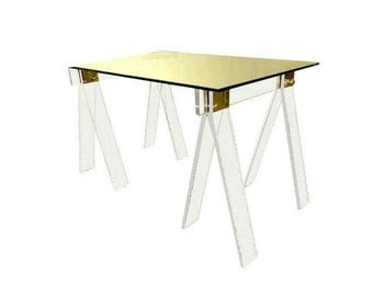 BUILT2ORDER // Custom Made Crystal Clear Lucite Acrylic Sawhorse Table and Desk Legs with Brass or Chrome Accents