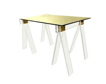 SALE // QUICK SHIP - In Stock // Custom Made Crystal Clear Lucite Acrylic Sawhorse Table and Desk Legs with Brass or Chrome Accents