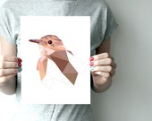 """Joaodebarro art print 8""""x10"""" or 11""""x14"""" - Geometric - Bird artr - Brown, beige - Brazil - Tropical"""