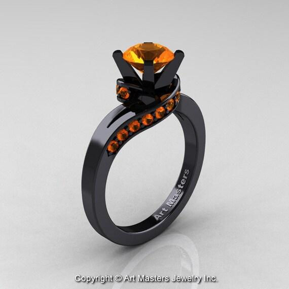 Estremamente Classico 14k oro nero 10 Ct anello solitario progettista EM47