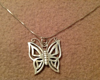 "Vintage Sterling Silver 20"" Necklace with Butterfly Pendant"