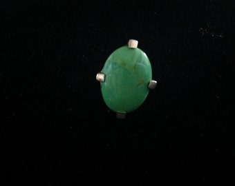 Vintage Sterling Silver Ring with Large Green Stone