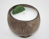 Coconut Candle, Scented in Coconut Lime Verbana, Natural Coconut Shell Candle