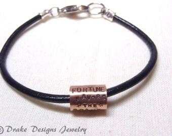 Motivational bracelet fortune favors the brave