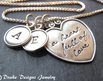 Mother necklace sterling silver hand stamped personalized heart necklace for moms