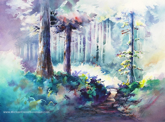 Watercolor landscape tree painting print hiking path hiking for My first watercolor painting