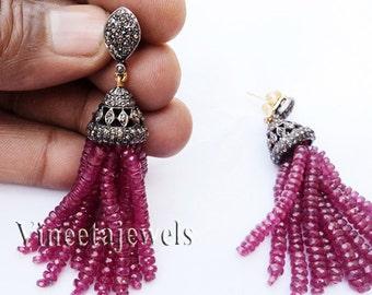 Tassel .925 Silver Vintage Inspired 4.08Ct. Rose Cut Diamond Antique Ruby Earrings