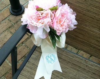 Wedding Bouquet Ribbon/Monogrammed Bridal Bouquet Ribbon/Wedding/Bridal