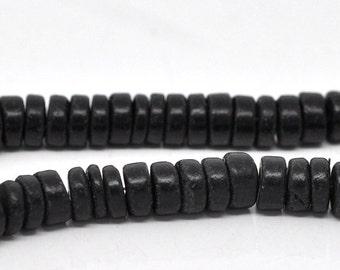 Wood Rondelle Beads, Black, 8mm, 1 strand, Beads for Hemp Jewelry