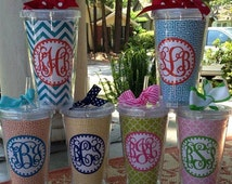 Chevron Cup, monogrammed cup, monogrammed chevron cup, personalized cup, cup with monogram, custom cold cup, pink monogrammed cup, cold cup