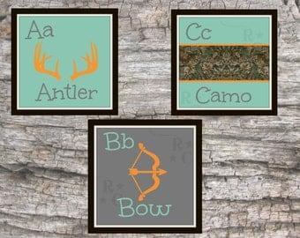 hunting nursery-nursery alphabet-nursery wall art-camo baby-nursery PRINTABLES-ABC poster-abc wall art-boys room decor-boys room wall art