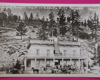 Circa 1915 ~ 1930's RPPC ~ BOWER MANSION West of Carson City, Nevada Vintage Unused Real Photo Postcard