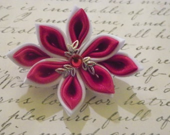 Red and White Kanzashi Flower Brooch