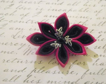 Black and Red Kanzashi Flower Brooch
