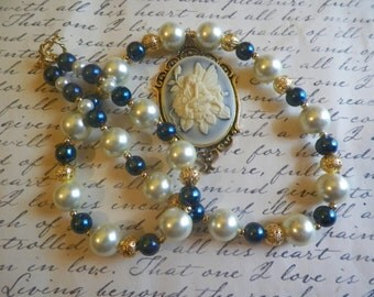 Ivory and Dark Blue  Fairy Cameo Beaded Necklace