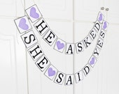 FREE SHIPPING, He Asked She Said Yes banner, Bridal shower banners, Bachelorette party decorations, Photo prop, Engagement party, Purple