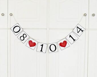 FREE SHIPPING, Save The Date banner, Bridal shower banner, Engagement party decoration, Photo Prop, Bachelorette party decoration, Dark red