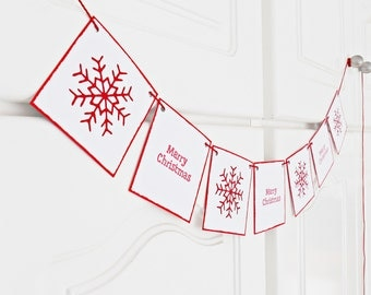 FREE SHIPPING, Merry Christmas banner, Holiday decoration, Christmas garland, Photo prop banner, Red & white Christmas banner with snowflake