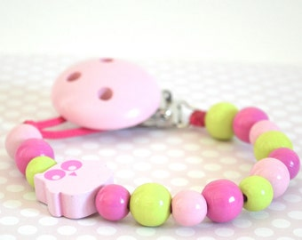 Baby pacifier clip, owl pacifier clip, pacifier holder, pink pacifier clip, girly pacifier clip, rose pacifier clip, soother clip, soother