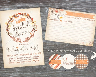 Fall Bridal Shower Invitation and Recipe Card - Autumn Vintage Wedding Floral Baby Shower