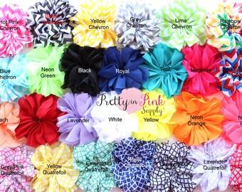 Large Double Ruffle Flowers Choose 5...Chiffon Flower...Chiffon Ruffle Flowers...DIY Headbands...Wholesale