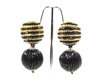 Black Gold Beaded Dangle Earrings Disco Ball 1970s Retro Jewelry