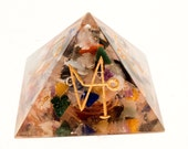 New Years Sale! Orgone Chakra Pyramid With Archangel Symbols Reduced Price!