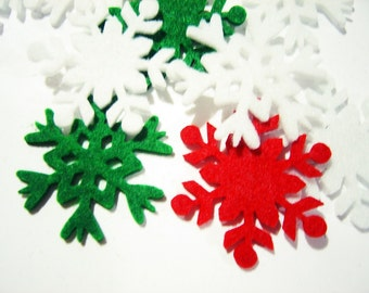 Wholesale Thick Felt x100 Mixed SNOWFLAKES Die Cuts - Winter Snowflakes- Cut Outs- Felt Pieces- Snowflakes-Winter Decorations-Holidays