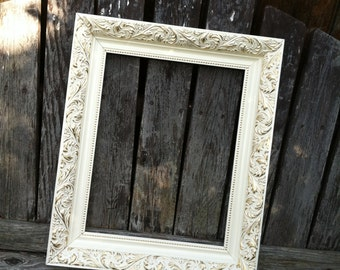 Ornate Picture Frame,  8x10, Ivory & Gold, Wedding Frame Chunky Frame,Glass and Backings Included (Los Angeles)