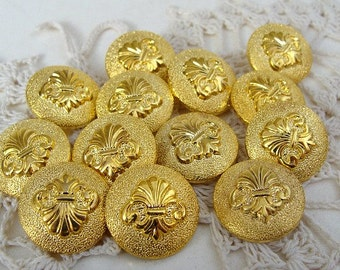13 Matching Shiny Gold Toned Supply of Buttons