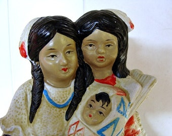 Vintage Native American Family Figurine Hand Painted