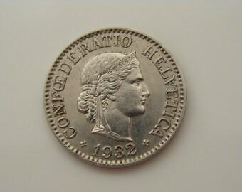 1932B Swiss Coin 10 Rappen