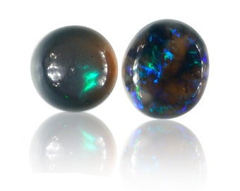 0.45ct Matching Pair Solid Black Australian Opal Lightning Ridge, Natural Untreated Loose Opal Piece SKU: 1932A002