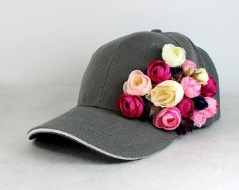 Basketball cap grey color / Roses Collection | casual | everyday | sport | flowers | unique