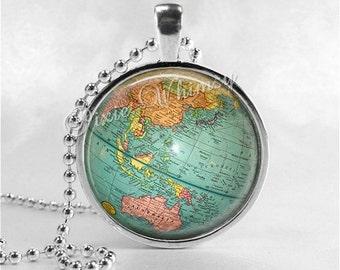 GLOBE Necklace, Globe Pendant, Vintage Globe, Vintage World Map, Planet, Earth, Vintage Map Necklace, Globe Jewelry, Travel Jewelry