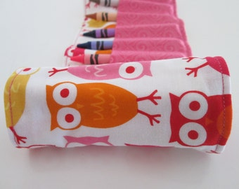 Pink Owls Crayon Roll or Organizer- Birthday Party Favor- Ready to Ship