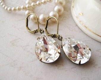 Crystal Rhinestone Teardrop Earrings, Clear Drop Earrings, Vintage Style Wedding, Bridal, Hollywood Glam, Swarovski Elements