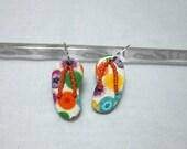 Orange Polymer Clay Earrings Handmade Flip Flops