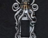 Steampunk Octopus Decora Light Switch Plate Cover. Plugin Cover, Housewares, home decor, wall art, sculpture.