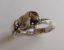 Sterling Silver Bunny Rabbit with Carrot Ring