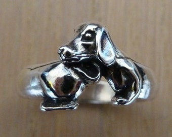 Sterling Silver Dachshund Dog Ring-Original Design-Whole Dachshund Body-Doxie-Weiner Dog-Wrap Around Dog Ring-Unique-Fun