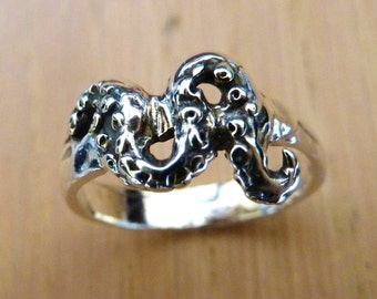 Sterling Silver Octopus Tentacle Ring