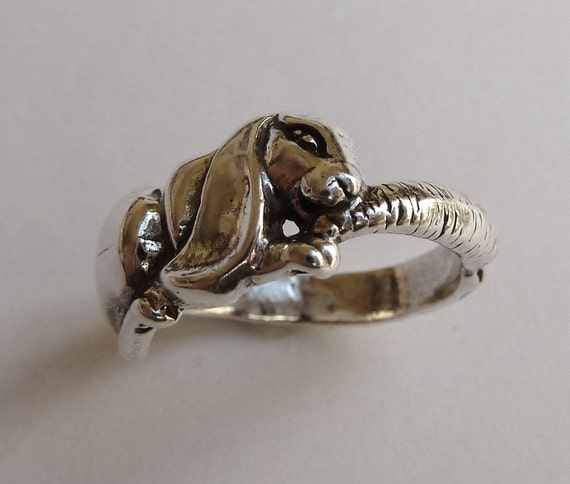Items similar to Sterling Silver Bunny Rabbit with Carrot Ring on Etsy